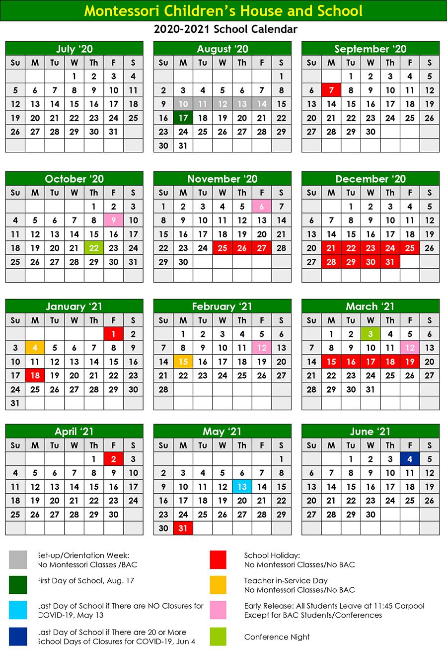 2020-2021 Montessori Calendar